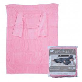 Deka s rukávy a kapsou Comfort 135 x 180 cm růžová
