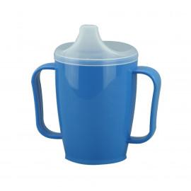 Hrnek s pítkem se dvěma víčky 250 ml, modrý