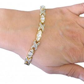 Magnetický náramek stříbrnozlatý s kamínky