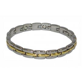 Ocelový náramek s magnety stříbrno-zlatý