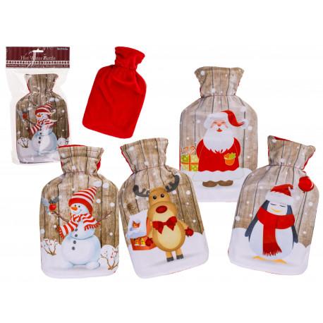 Termofor s fleecovým obalem Vánoce 1l Sněhulák